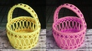How to make flower basket | flower basket from woolen and newspaper