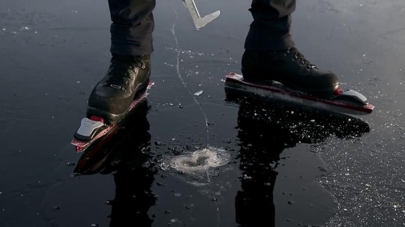 Инопланетные звуки появляющиеся из за катания на коньках по тонкому и хрупкому льду