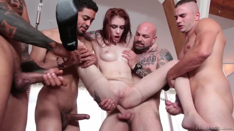 Evil Angel Redhead bitch Anna De Ville gets banged hard during painful gangbang, Поимели в 4