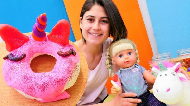 Ayşe Güle Unicorn donat yapıyor! Eğlenceli hamur oyunu! Bebek bakma videosu