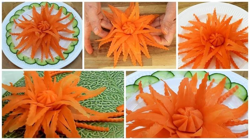 Super Salad Decoration Ideas - Vegetable Carrot Flower Plate Decoration