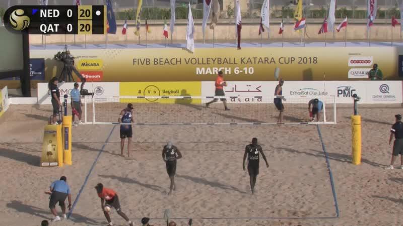KATARA Beach Volleyball Cup 2018 Brouwer Meeuwsen NED 9 Cherif Ahmed Tijan QAT 8