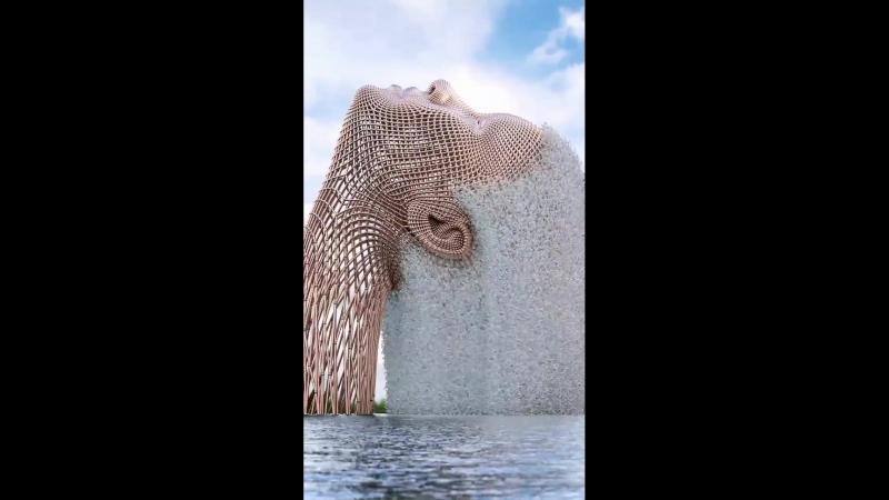 OurWorld . Фонтан. Волосы девушки. Цифровая скульптура.