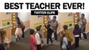Teacher greeting her students with special handshakes hugs before class! | Viral Video