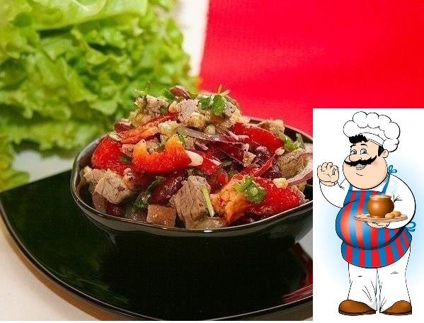 Салат Тбилиси. Очень вкусный и нарядный салатик! Сытный и в то же время не тяжелый. Попробуйте! Вам потребуется: 1 банка красной фасоли 200-250 грамм отварной говядины (берем нежирный кусочек