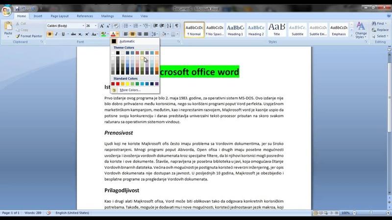Microsoft Office Word. Korak po Korak - Osnovna Obrada Teksta