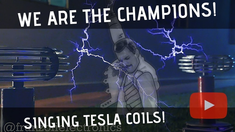 Queen - We Are The Champions Meets Singing Tesla Coils (Bobinas de Tesla)