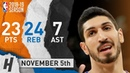 Enes Kanter Full Highlights Knicks vs Bulls 2018 11 05 23 Pts 7 Ast 24 Rebounds