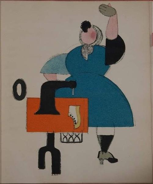 Пропагандистские литографии из серии «Русские плакаты», Владимир Лебедев, 1923 Слева направо.1. Женщина-пролетарка2.Буржуа на службе пролетариата3.Рабочий выметает преступных элементов из