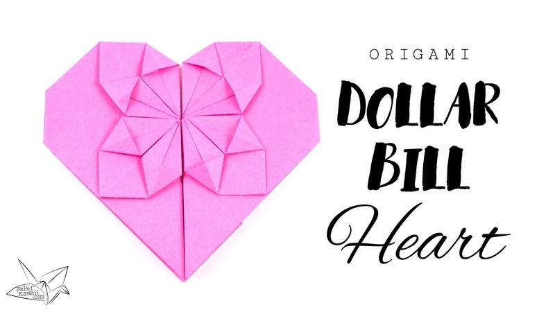 Easy Origami Money Heart Tutorial ♥︎ DIY ♥︎ Paper Kawaii
