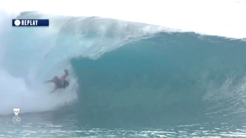 Kelly Slater Falls of Inside the Barrel and Gets Up Again INCREDIBLE PIPELINE 2018