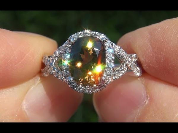 GIA Certified Natural Color Change FLASH Demantoid Garnet Diamond 14k Gold Ring - A141594