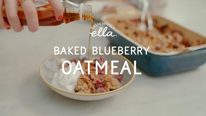 Baked Banana Blueberry Oatmeal Deliciously Ella Vegan