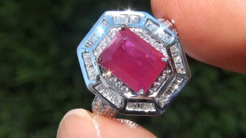 ELEGANT 5.01 Carat Natural Ruby Diamond Ring 14K Gold Estate Auction