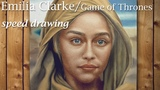 Emilia Clarke (Game Of Thrones) face painting in oil portrait speed drawing