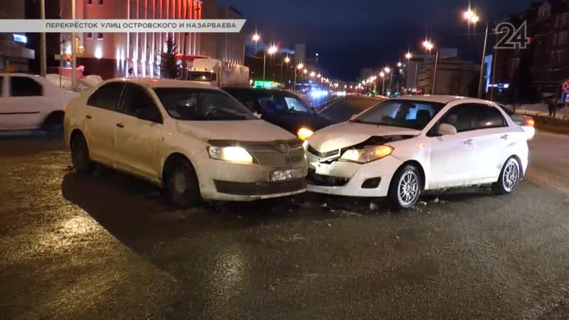 Chery и Skoda столкнулись на перекрестке улиц Островского и Назарбаева