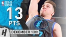 Luka Doncic Full Highlights Mavericks vs Suns 2018.12.13 - 13 Points, 6 Ast