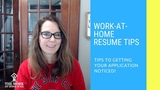 Work at Home Resume Tips &amp FAQs
