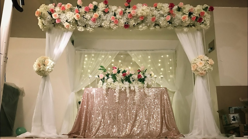 DIY- canopy and stage backdrop decor DIY- floral decor DIY- wedding decor DIY -PVC pipe canopy decor