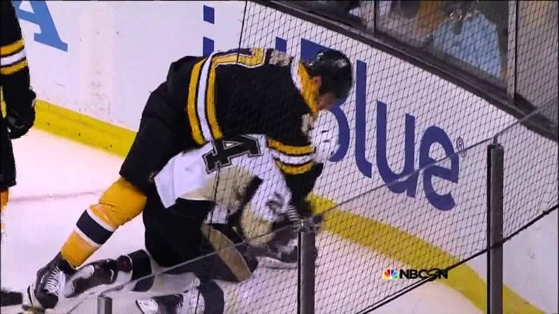 Scrum in OT Malkin Chara Lucic Cooke 6 5 13 Pittsburgh Penguins vs Boston Bruins NHL Hockey