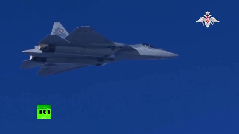 Видео полёта российского истребителя Су-57 в Сирии