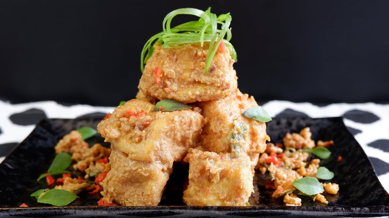 Super Easy Air Fried Salted Egg Yolk Tofu 咸蛋豆腐 Using Homemade Egg Tofu Air Fryer Recipe
