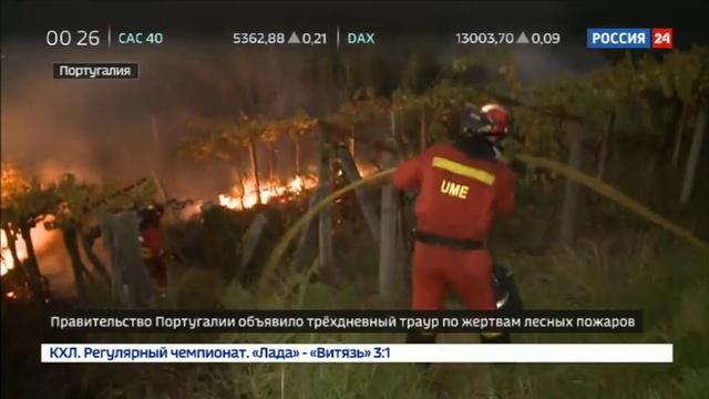 Новости на Россия 24 • В Португалии объявили трехдневный траур по жертвам лесных пожаров