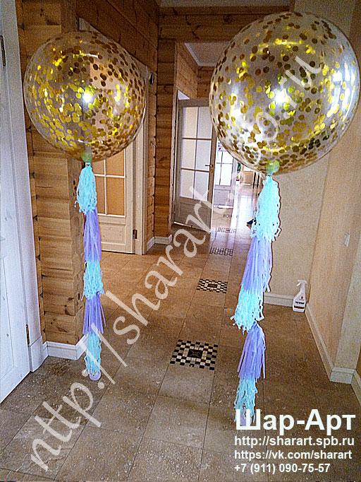 большие шары с золотым конфетти на день рождение и юбилей