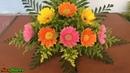 Cắm hoa đơn giản - Dĩa hoa Đồng tiền mix Hoàng anh