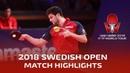Dimitrij Ovtcharov vs Zhou Qihao   2018 ITTF Swedish Open Highlights (1/4)