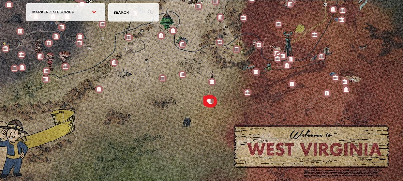 Johnson's Acre на карте в Fallout 76