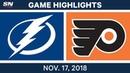 NHL Highlights | Lightning vs. Flyers – Nov. 17, 2018
