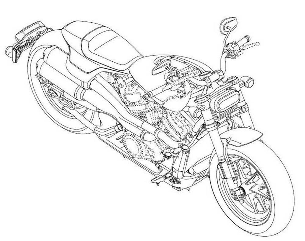Патентные рисунки Harley-Davidson  Streetfighter, Custom 1250,  Pan America 1250
