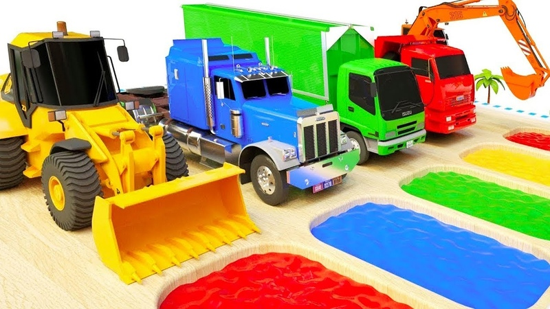 Learn colors with Cars Excavator tractor van trailer truck and balls