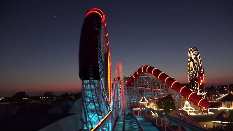Pixar Pier Premiere,Incredicoaster at Night, Disney's California Adventure, 6-22-18, Front Row, 4K