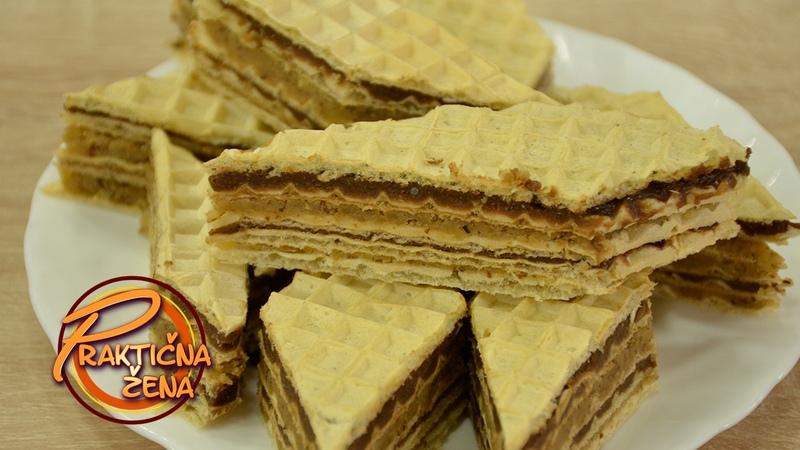 Сербский вафельный торт с масляно- шоколадным и масляным с грецкими орехами кремами / Praktična žena - Pišinger