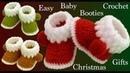 Zapatos botas a Crochet para bebes y tallas adultas para Navidad tejido tallermanualperu