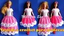 Vestido tejido a crochet para muñecas Barbie paso a paso - Ropa para Muñecas