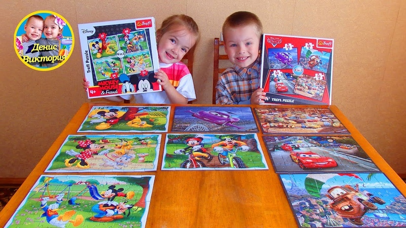 Пазлы тачка маквин и микки маус / Cars McQueen and Mickey Mouse puzzles