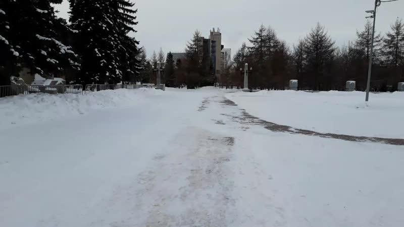 Аллея героев-пионеров зимой