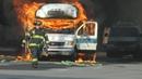 CRAZY JITNEY BUS FIRE IN BAYONNE NJ 10-29-16