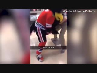 Blackhawks mascot Tommy Hawk was attacked at the United Center by a fan, - @madkenney reports. -