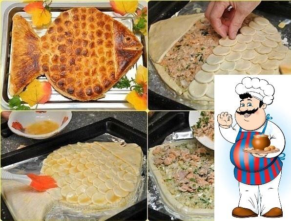 ПИРОГ ЗОЛОТАЯ РЫБКА Aроматный горячий рыбный пирог, приготовленный своими руками, ваши домашние оценят на ура. Потому что это очень вкусно. Приятного аппетита! <strong>Ингредиенты:</strong> 2 банки рыбных»/></div> <p>Aроматный горячий рыбный пирог, приготовленный своими руками, ваши домашние оценят на ура. Потому что это очень вкусно. Приятного аппетита! <br /><strong>Ингредиенты:</strong> <br />2 банки рыбных консервов (у нас форель), <br />0,5 стакана риса, <br />2 сваренных вкрутую яйца, <br />1 луковица, <br />2 пачки (1000 г) готового слоеного бездрожжевого теста, <br />50 г сливочного масла, <br />соль, перец, <br />яйцо для смазывания. <br /><strong>Приготовление:</strong> <br />Рис отварить почти до готовности, лучше немного не доварить. Промыть, чтобы он стал рассыпчатым. Мелко порезать луковицу и обжарить на сливочном масле до золотистого цвета. Добавить мелко порубленные яйца и рис. Перемешать. Тесто немного раскатать, припылить мукой, сложить вдоль пополам, вырезать половину рыбки со сгибом в центре, развернуть. Переложить рыбку на противень, застеленный бумагой для выпечки. <br />Раскатать вторую половину теста, часть нарезать на полоски шириной 1,5 см  это будут бортики пирога. Яйцо разболтать со столовой ложкой воды, аккуратно смазать края вырезанной рыбки и приклеить на них полоски теста. Так же приклеить второй ряд. В итоге должна получиться «коробочка» из теста в форме рыбы. <br />Выложить на тесто рис с яйцом, сверху положить размятую вилкой рыбу. Из остатков теста вырезать хвост и голову рыбы, а остальное тесто нарезать подходящей рюмочкой на кружки  чешую. Собрать рыбку, склеивая детали взболтанным яйцом. Смазать рыбку яйцом и выпекать в предварительно нагретой до 1800 С духовке до полной готовности (около 40 минут).</p><div> <div id=