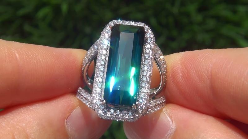 Internally FLAWLESS 8.68 Carat Natural Indicolite Tourmaline Diamond Ring Beverly Hills Estate
