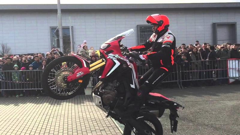 New Honda Africa Twin CRF1000 test drive - stuntride show by Lisak