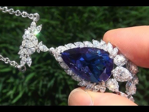 Certified Violetish Blue Tanzanite Diamond Pendant Estate Necklace 23.54 TCW - C792