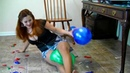 Secretary feels disturbed by balloons in the office and pops them in different ways