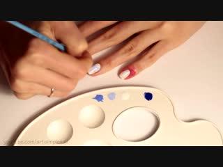 Геометрический дизайн ногтей гель-лаком. Красивый синий маникюр💙