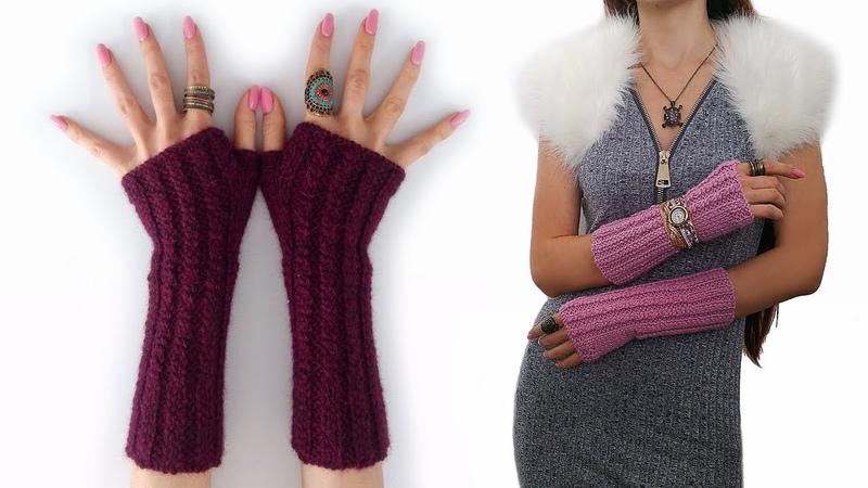 Элегантные митенки ♥ Мастер-класс ♥ Knitted crochet mittens tutorial ♥ Crochetka Design DIY