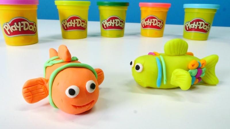 Play-Doh hamur oyunları. Oyun hamuru ile balık